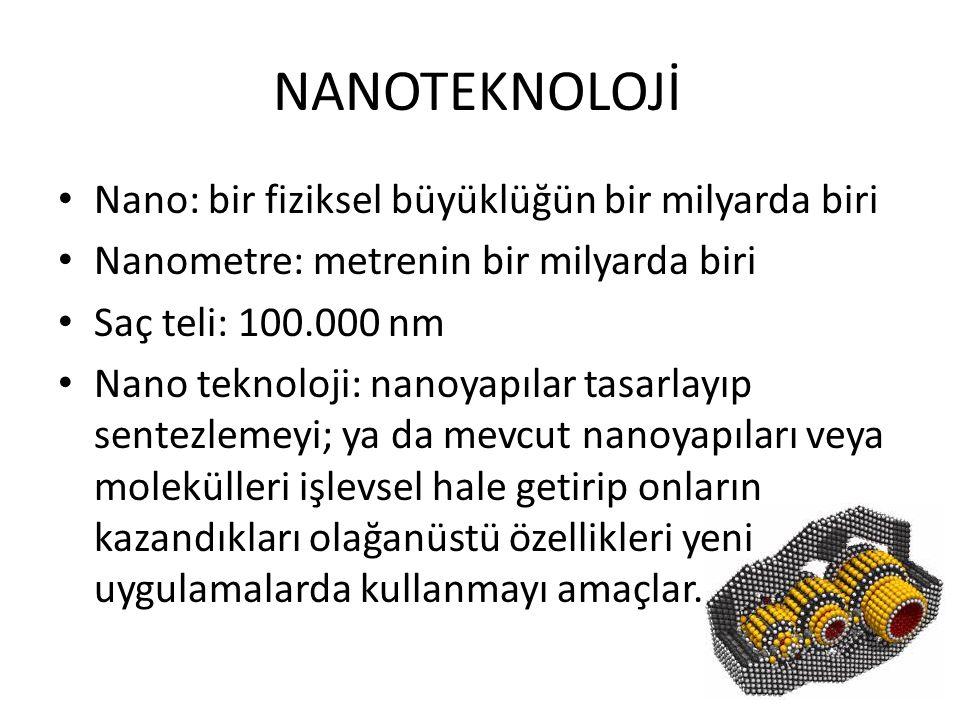 NANOTEKNOLOJİ Nano: bir fiziksel büyüklüğün bir milyarda biri