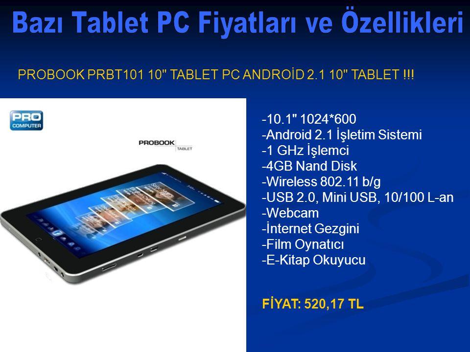 Bazı Tablet PC Fiyatları ve Özellikleri