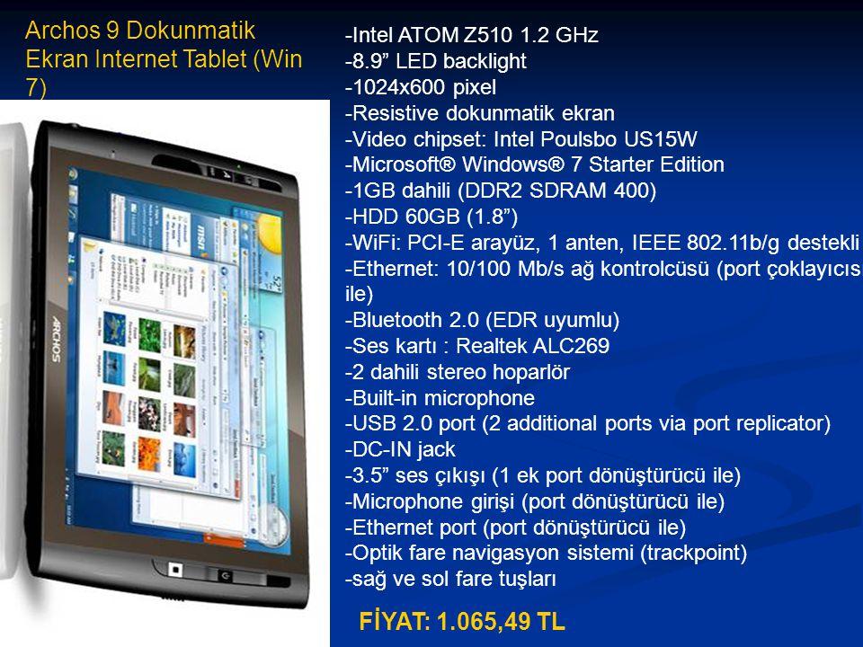 Archos 9 Dokunmatik Ekran Internet Tablet (Win 7)