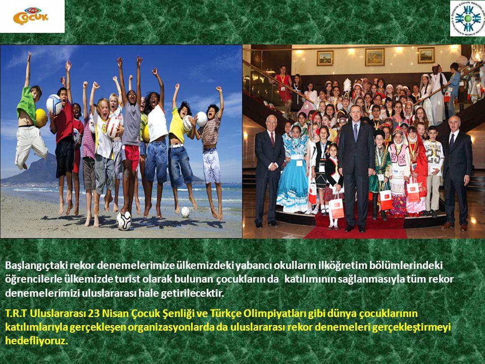 Başlangıçtaki rekor denemelerimize ülkemizdeki yabancı okulların ilköğretim bölümlerindeki öğrencilerle ülkemizde turist olarak bulunan çocukların da katılımının sağlanmasıyla tüm rekor denemelerimizi uluslararası hale getirilecektir.