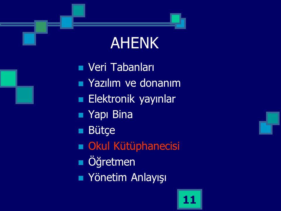 AHENK Veri Tabanları Yazılım ve donanım Elektronik yayınlar Yapı Bina