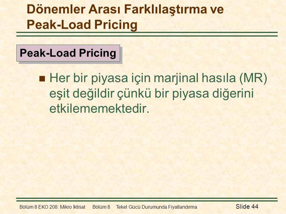 Dönemler Arası Farklılaştırma ve Peak-Load Pricing