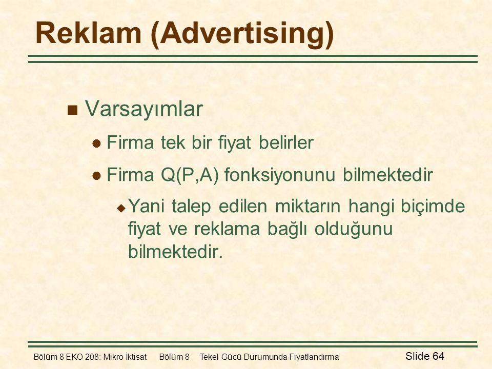 Reklam (Advertising) Varsayımlar Firma tek bir fiyat belirler