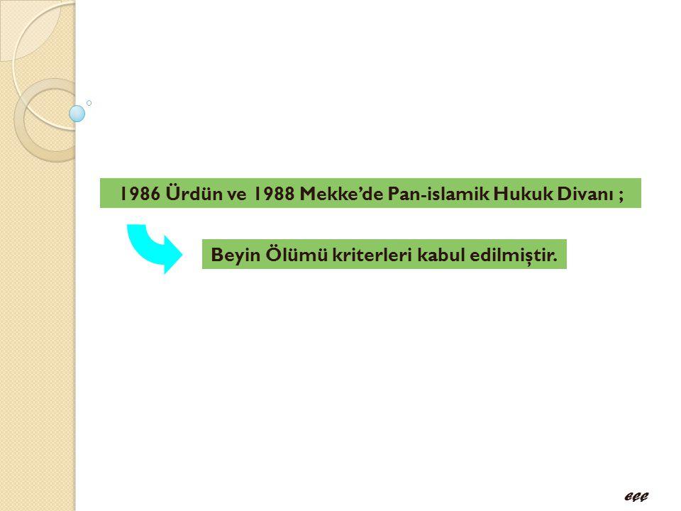1986 Ürdün ve 1988 Mekke'de Pan-islamik Hukuk Divanı ;