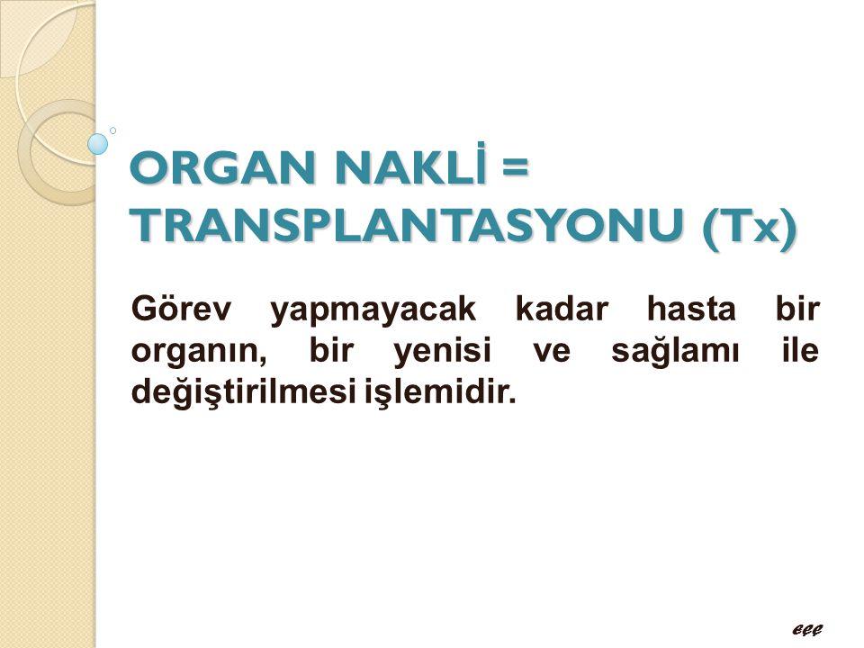 ORGAN NAKLİ = TRANSPLANTASYONU (Tx)