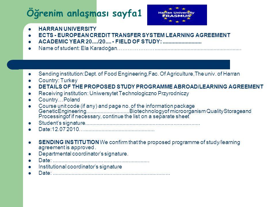 Öğrenim anlaşması sayfa1