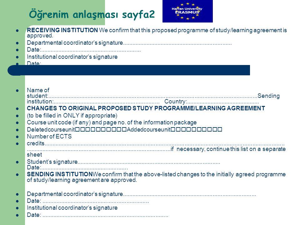 Öğrenim anlaşması sayfa2