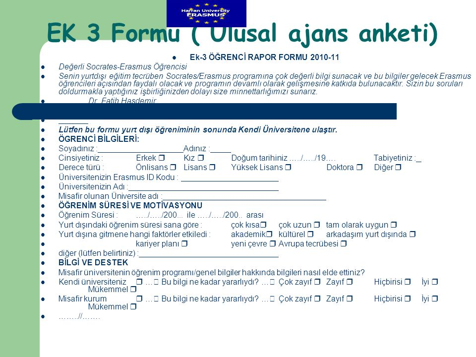 EK 3 Formu ( Ulusal ajans anketi)