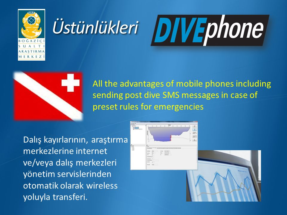 Üstünlükleri All the advantages of mobile phones including sending post dive SMS messages in case of preset rules for emergencies.