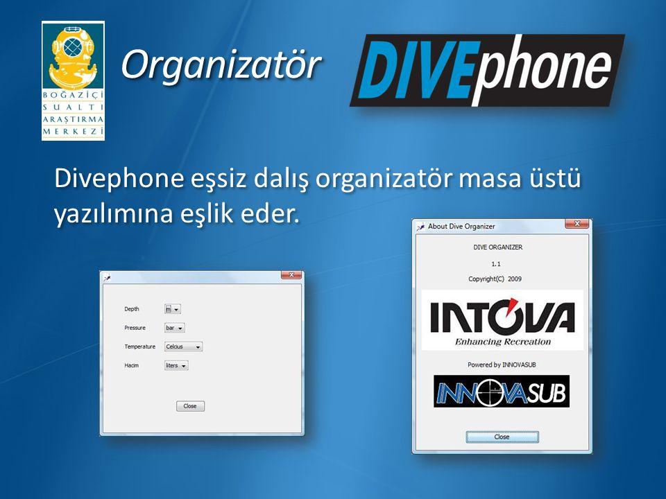 Organizatör Divephone eşsiz dalış organizatör masa üstü yazılımına eşlik eder.