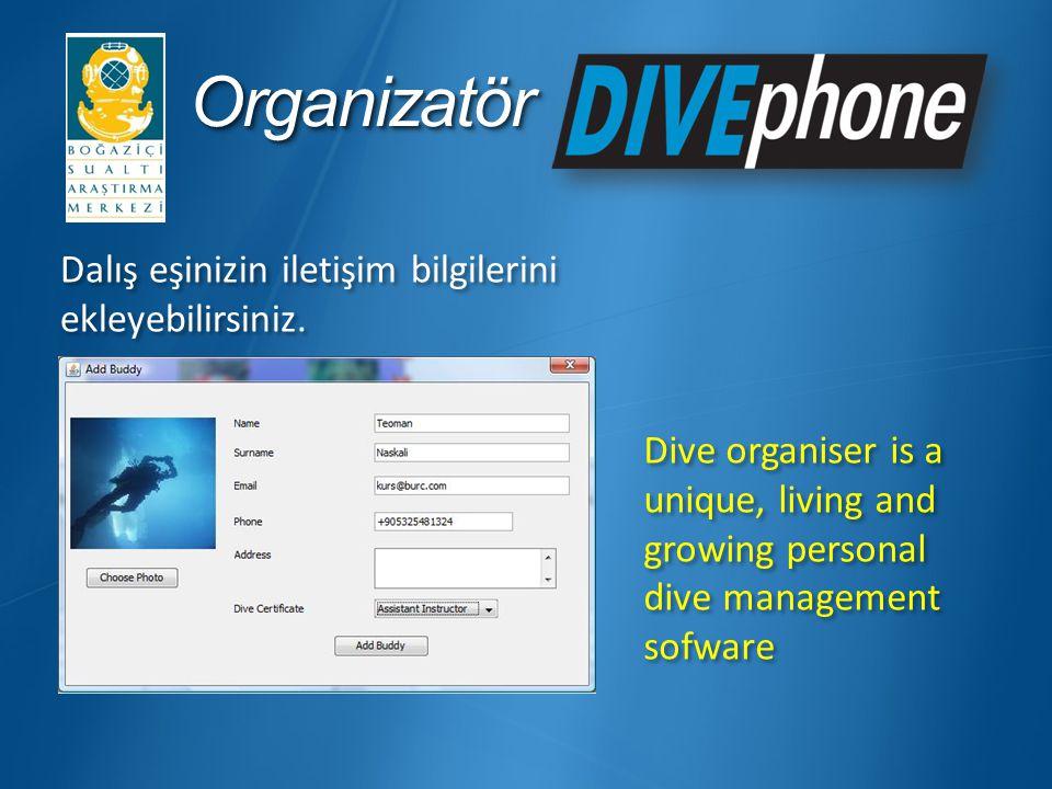 Organizatör Dalış eşinizin iletişim bilgilerini ekleyebilirsiniz.