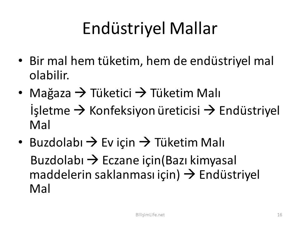 Endüstriyel Mallar Bir mal hem tüketim, hem de endüstriyel mal olabilir. Mağaza  Tüketici  Tüketim Malı.