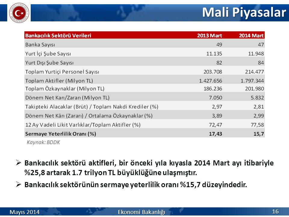 Mali Piyasalar Kaynak: BDDK.