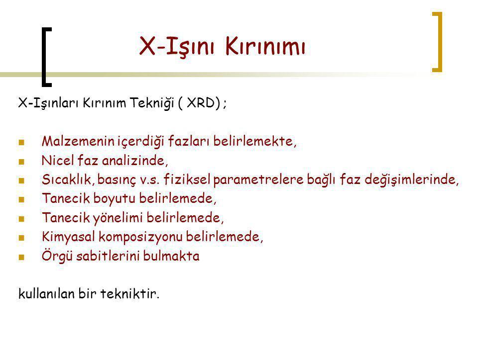 X-Işını Kırınımı X-Işınları Kırınım Tekniği ( XRD) ;