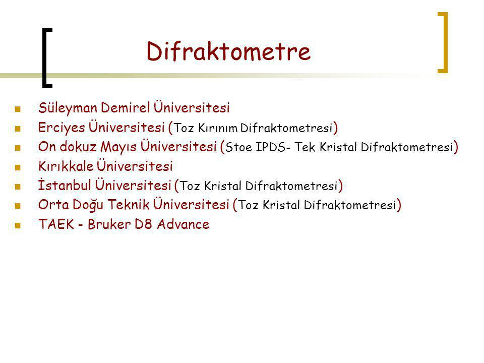 Difraktometre Süleyman Demirel Üniversitesi