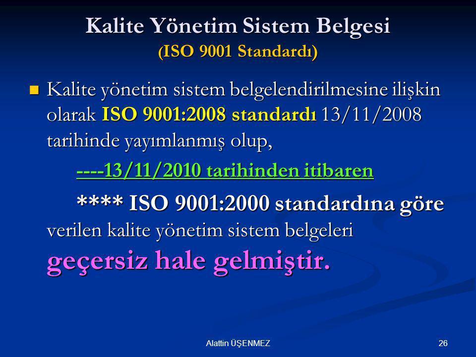 Kalite Yönetim Sistem Belgesi (ISO 9001 Standardı)