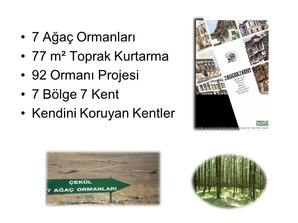 7 Ağaç Ormanları 77 m² Toprak Kurtarma 92 Ormanı Projesi 7 Bölge 7 Kent Kendini Koruyan Kentler