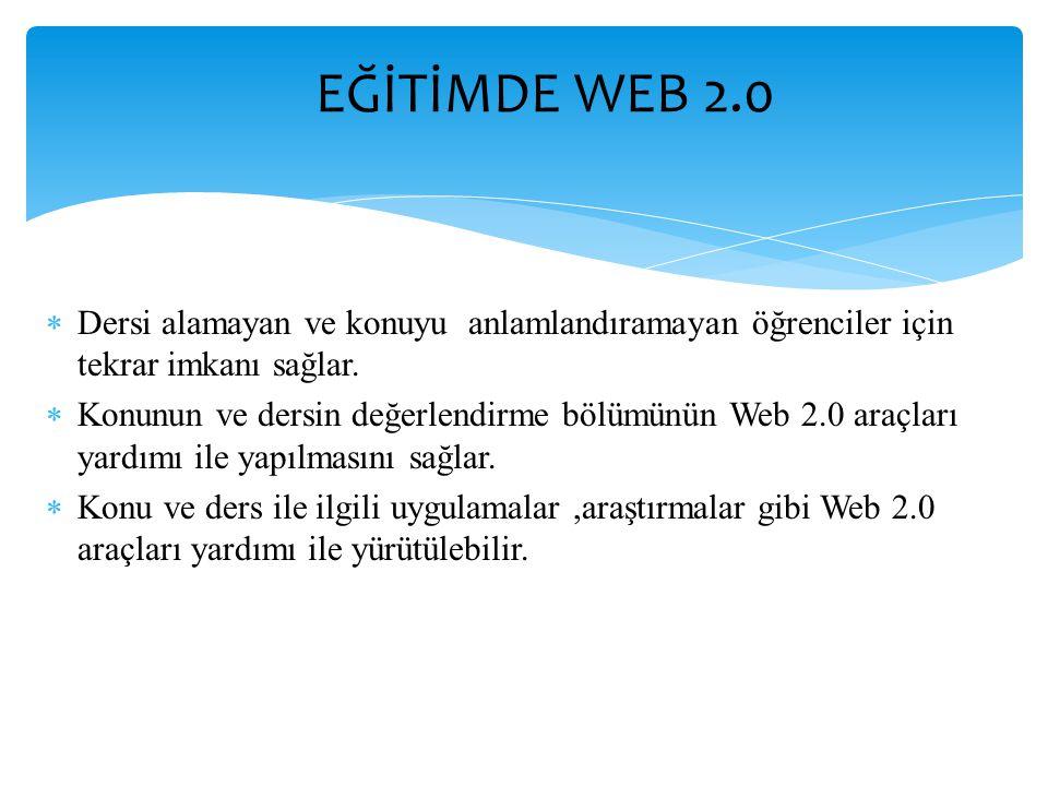 EĞİTİMDE WEB 2.0 Dersi alamayan ve konuyu anlamlandıramayan öğrenciler için tekrar imkanı sağlar.