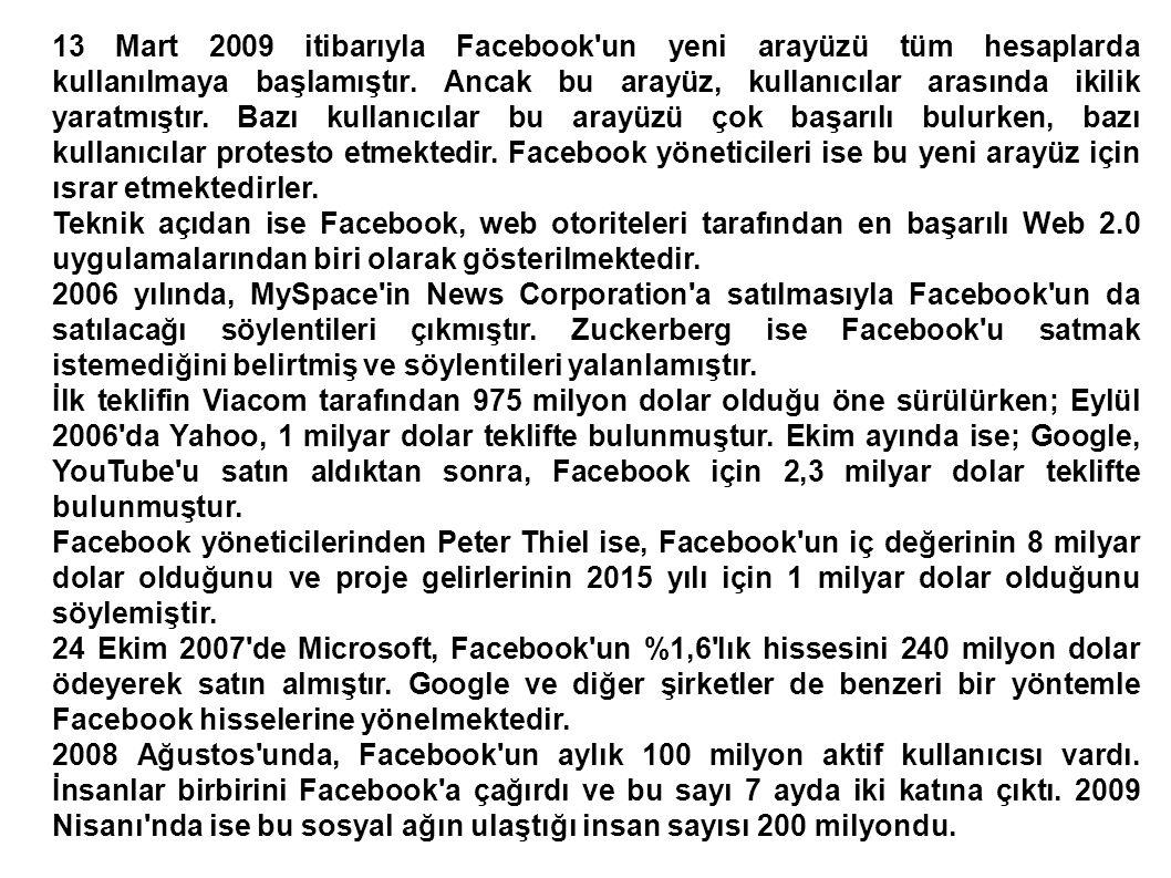 13 Mart 2009 itibarıyla Facebook un yeni arayüzü tüm hesaplarda kullanılmaya başlamıştır. Ancak bu arayüz, kullanıcılar arasında ikilik yaratmıştır. Bazı kullanıcılar bu arayüzü çok başarılı bulurken, bazı kullanıcılar protesto etmektedir. Facebook yöneticileri ise bu yeni arayüz için ısrar etmektedirler.