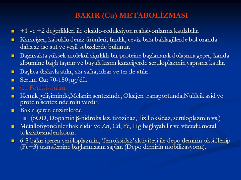 BAKIR (Cu) METABOLİZMASI