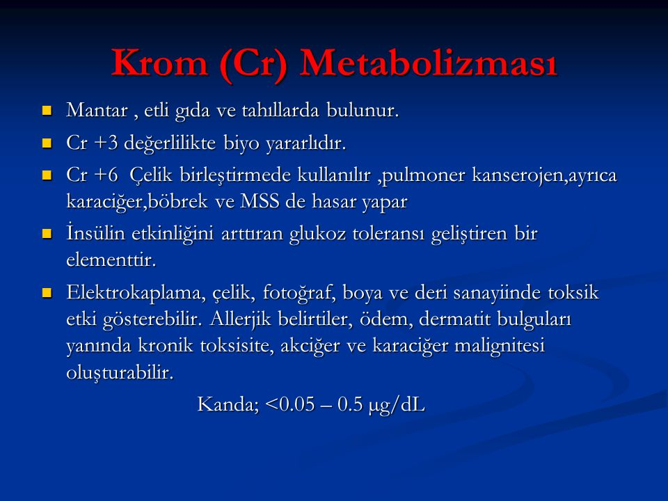 Krom (Cr) Metabolizması