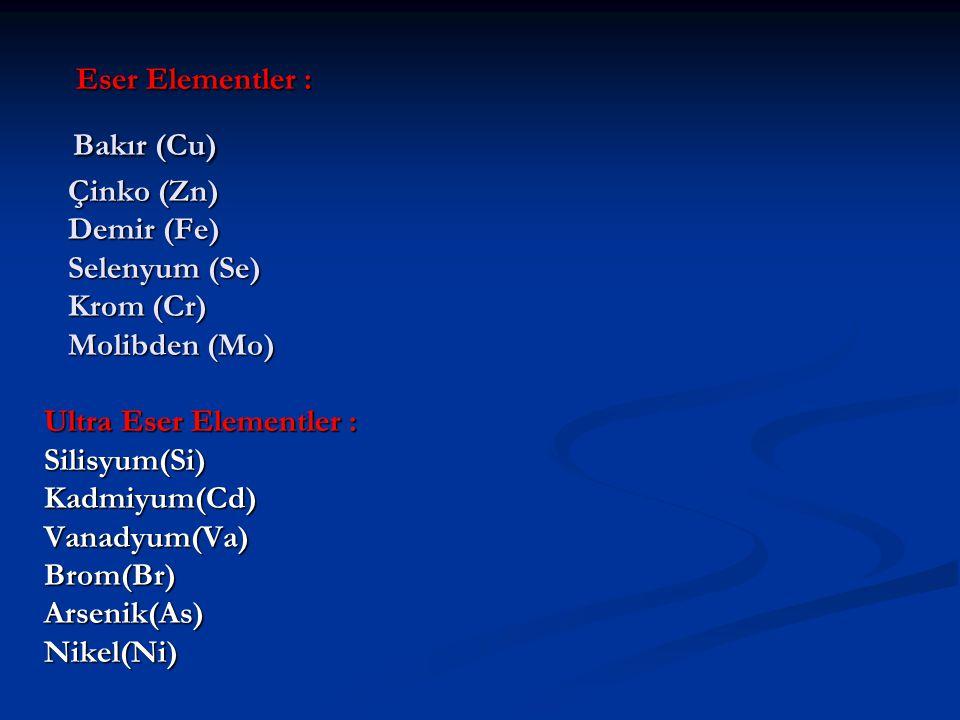 Eser Elementler : Bakır (Cu) Çinko (Zn) Demir (Fe) Selenyum (Se) Krom (Cr) Molibden (Mo) Ultra Eser Elementler : Silisyum(Si) Kadmiyum(Cd) Vanadyum(Va) Brom(Br) Arsenik(As) Nikel(Ni)