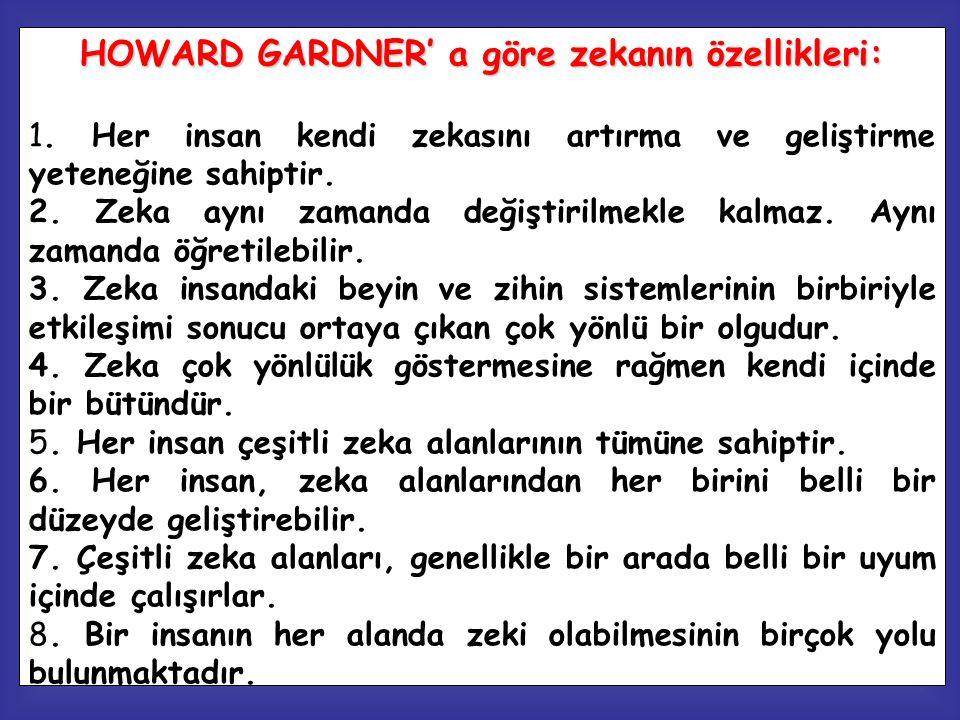 HOWARD GARDNER' a göre zekanın özellikleri: