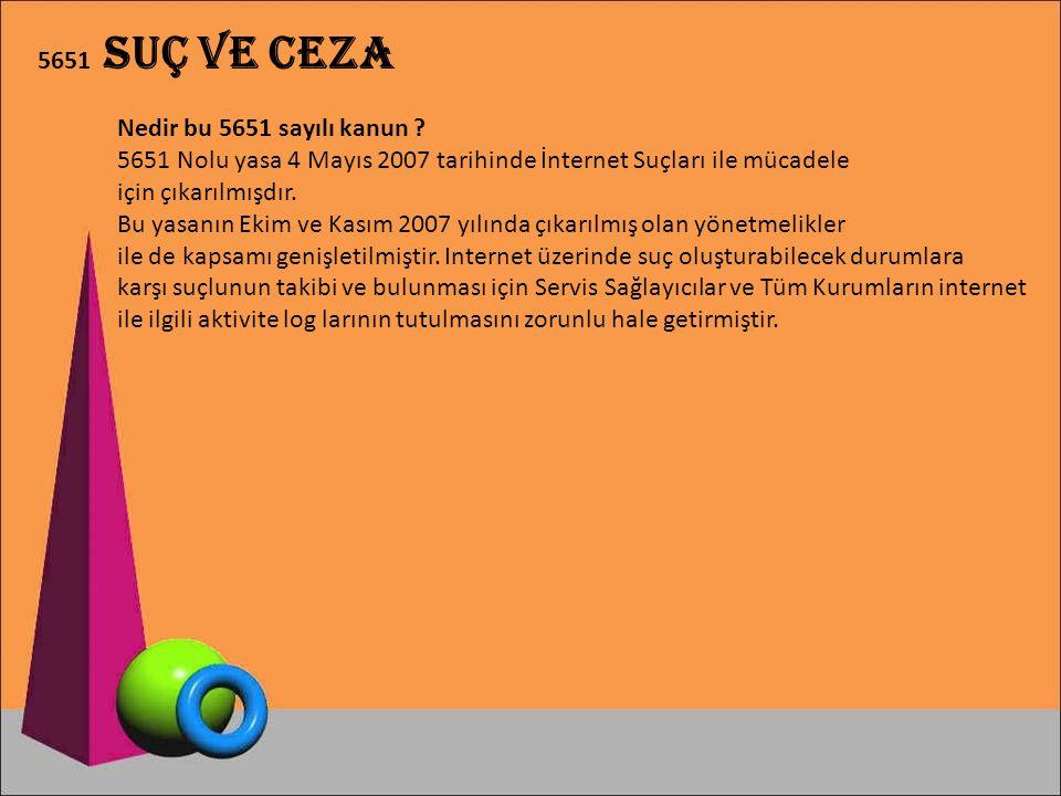 5651 Nolu yasa 4 Mayıs 2007 tarihinde İnternet Suçları ile mücadele