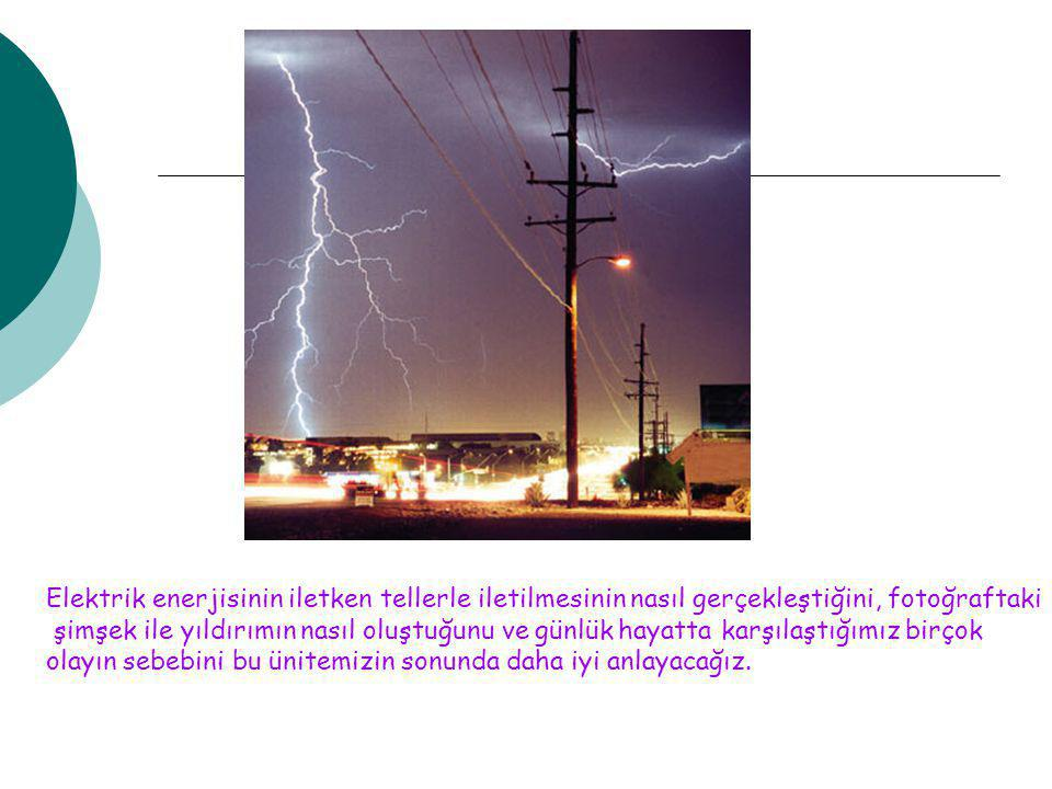 Elektrik enerjisinin iletken tellerle iletilmesinin nasıl gerçekleştiğini, fotoğraftaki