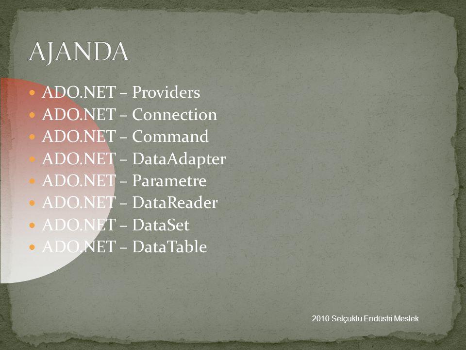 AJANDA ADO.NET – Providers ADO.NET – Connection ADO.NET – Command