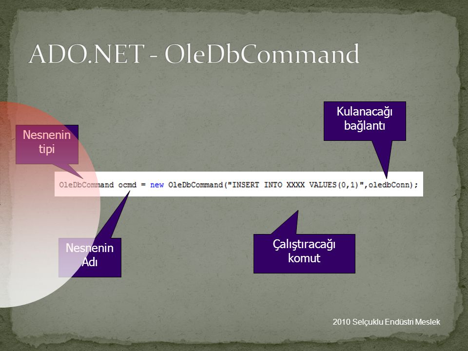 ADO.NET - OleDbCommand Kulanacağı bağlantı Nesnenin tipi
