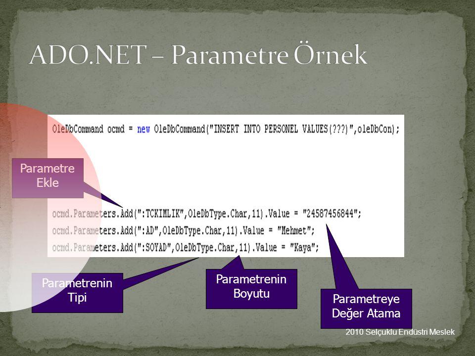 ADO.NET – Parametre Örnek
