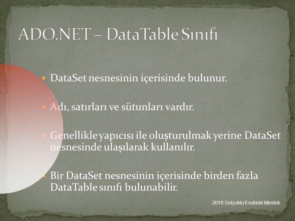 ADO.NET – DataTable Sınıfı