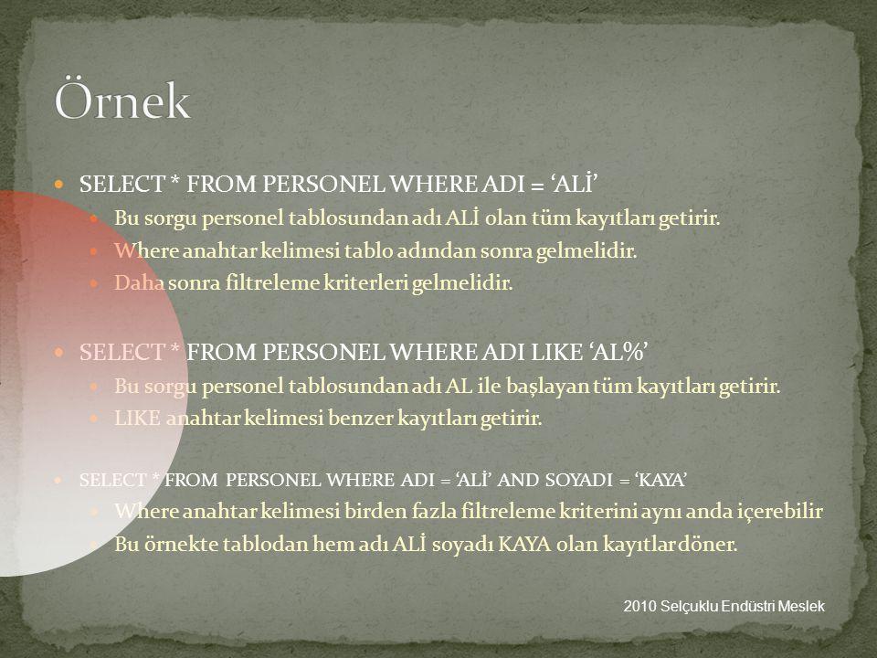 Örnek SELECT * FROM PERSONEL WHERE ADI = 'ALİ'