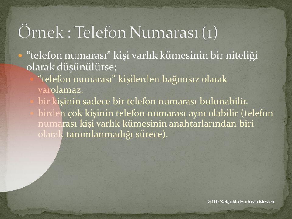 Örnek : Telefon Numarası (1)