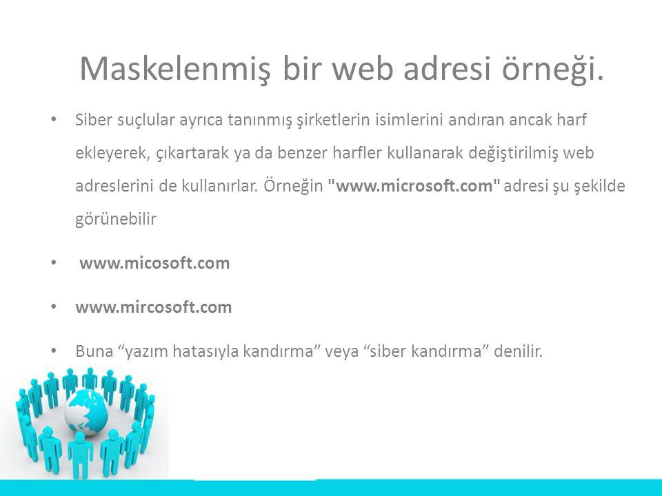 Maskelenmiş bir web adresi örneği.