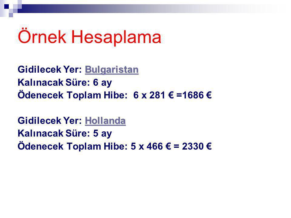 Örnek Hesaplama Gidilecek Yer: Bulgaristan Kalınacak Süre: 6 ay