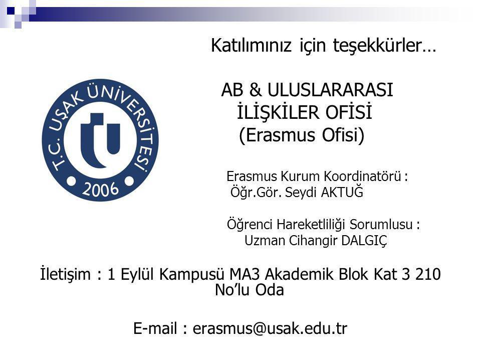 İLİŞKİLER OFİSİ (Erasmus Ofisi)