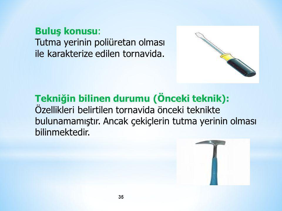 Buluş konusu: Tutma yerinin poliüretan olması. ile karakterize edilen tornavida. Tekniğin bilinen durumu (Önceki teknik):