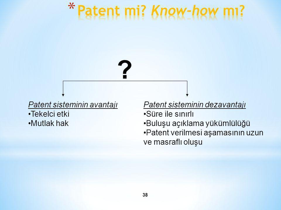 Patent mi Know-how mı Patent sisteminin avantajı Tekelci etki