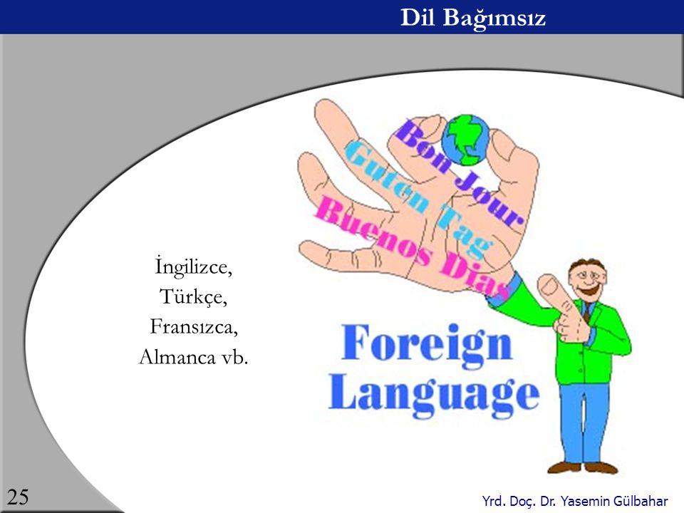 Dil Bağımsız İngilizce, Türkçe, Fransızca, Almanca vb.