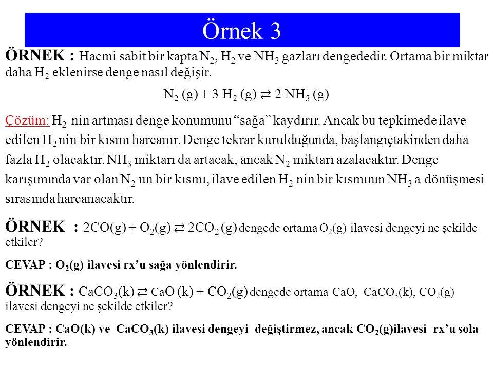 Örnek 3 ÖRNEK : Hacmi sabit bir kapta N2, H2 ve NH3 gazları dengededir. Ortama bir miktar daha H2 eklenirse denge nasıl değişir.