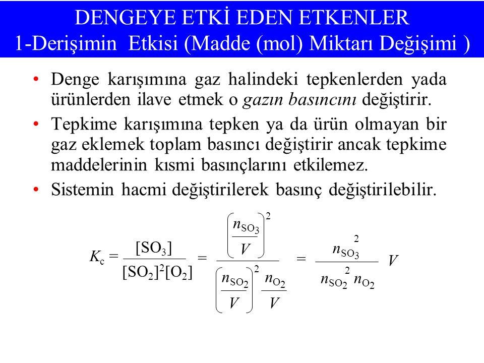 DENGEYE ETKİ EDEN ETKENLER 1-Derişimin Etkisi (Madde (mol) Miktarı Değişimi )