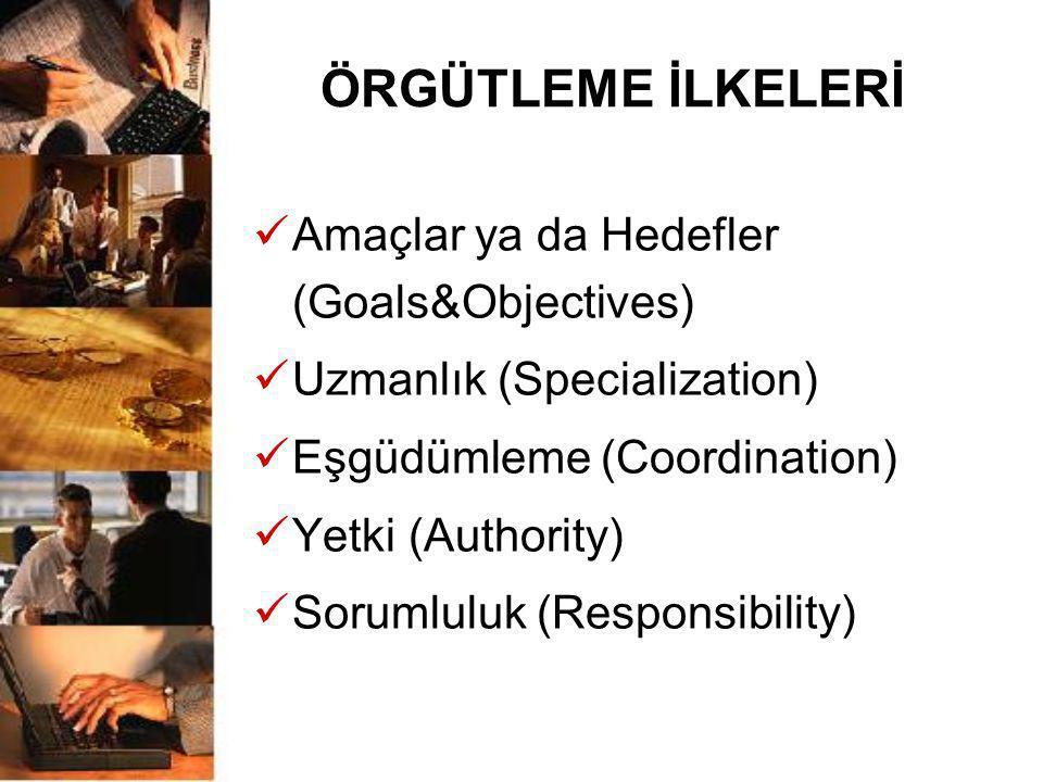 ÖRGÜTLEME İLKELERİ Amaçlar ya da Hedefler (Goals&Objectives)