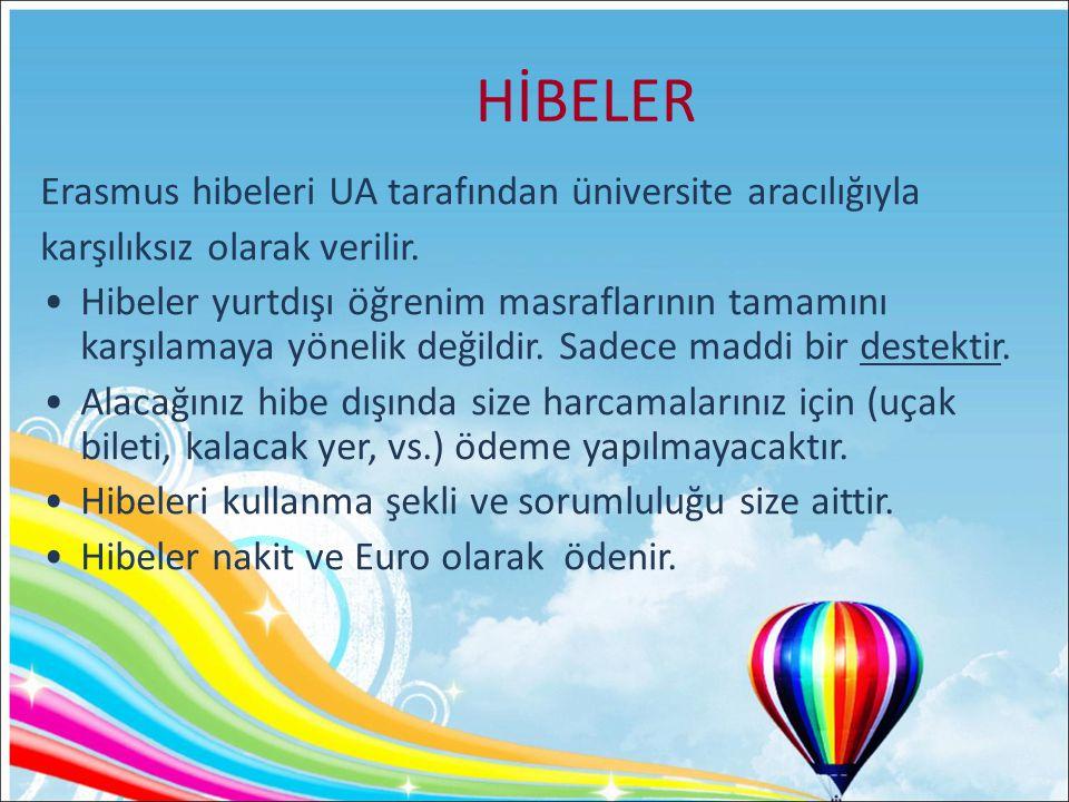 HİBELER Erasmus hibeleri UA tarafından üniversite aracılığıyla