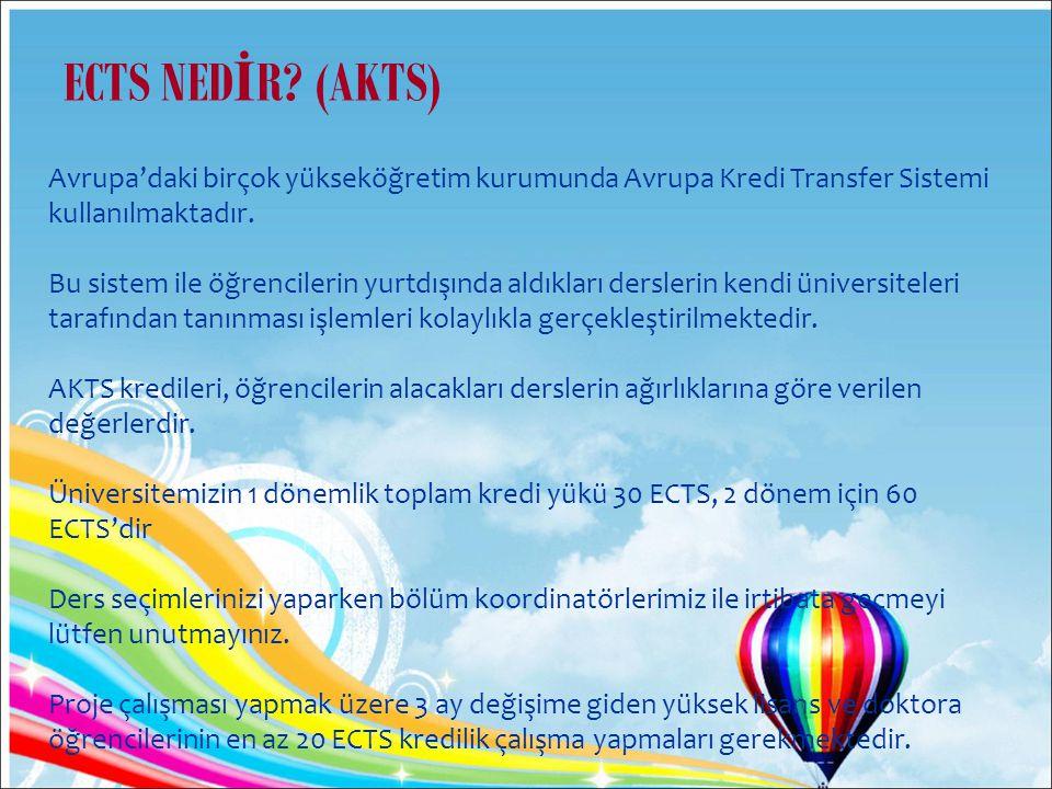 ECTS NEDİR (AKTS) Avrupa'daki birçok yükseköğretim kurumunda Avrupa Kredi Transfer Sistemi kullanılmaktadır.