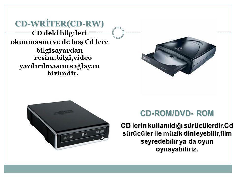 CD-WRİTER(CD-RW) CD-ROM/DVD- ROM CD deki bilgileri