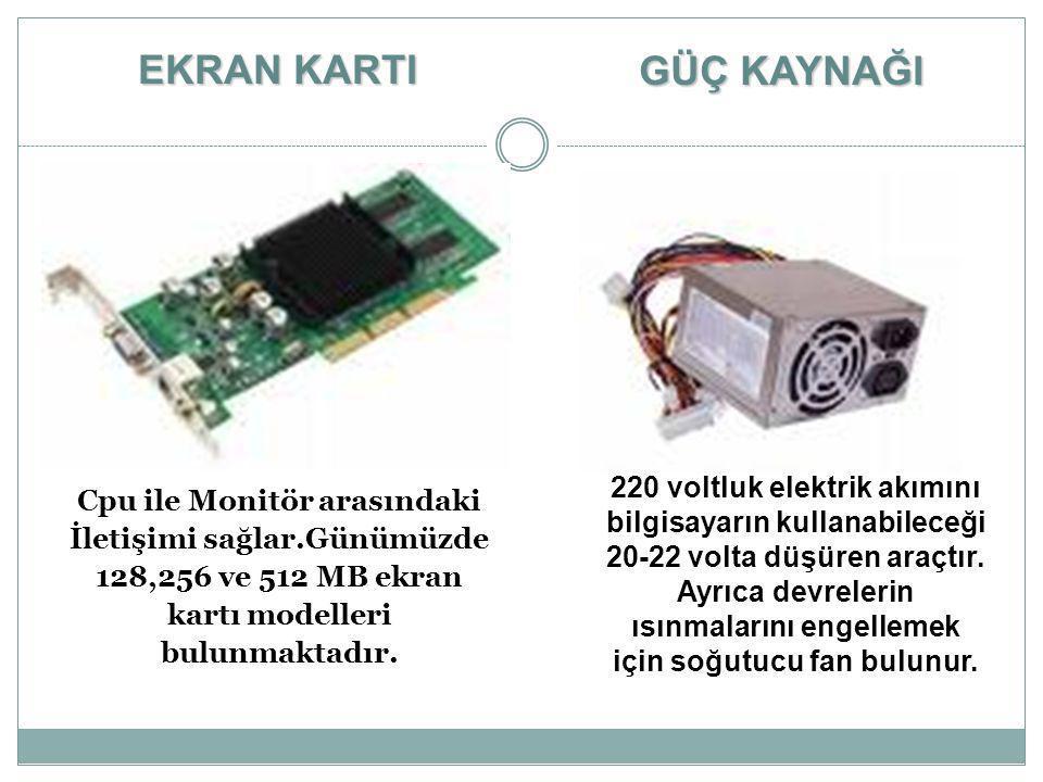 Cpu ile Monitör arasındaki İletişimi sağlar.Günümüzde