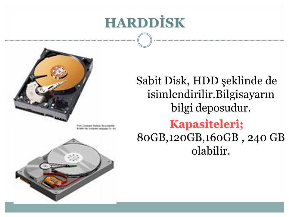 Kapasiteleri; 80GB,120GB,160GB , 240 GB olabilir.