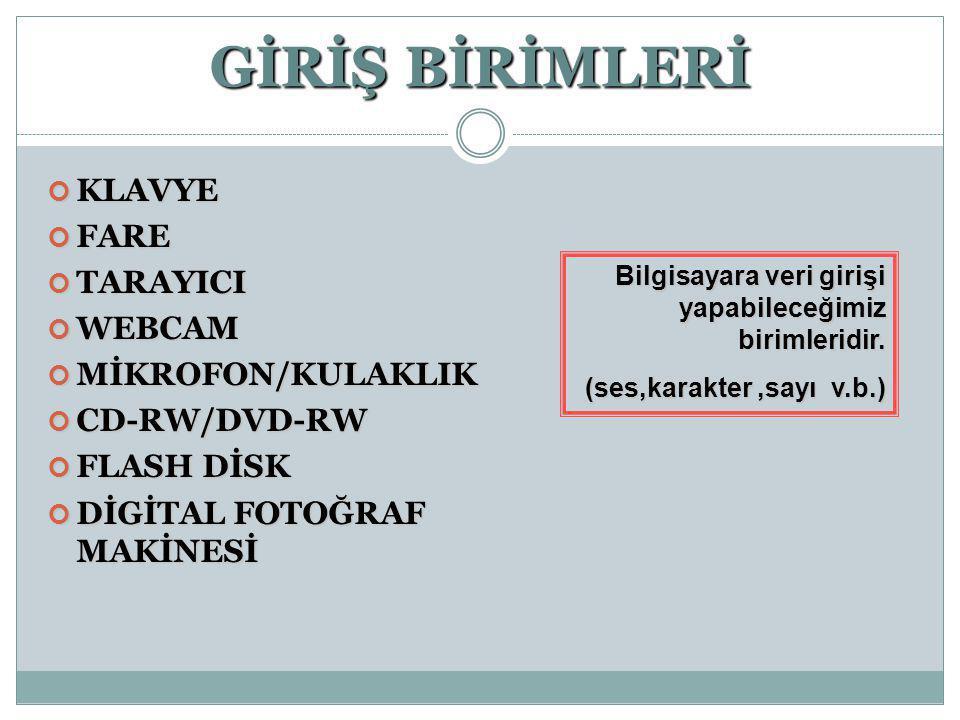 GİRİŞ BİRİMLERİ KLAVYE FARE TARAYICI WEBCAM MİKROFON/KULAKLIK